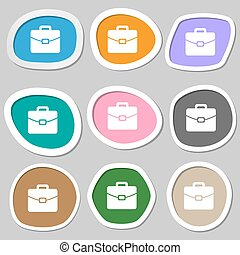 suitcase symbols Multicolored paper stickers Vector...