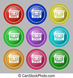 audiocassette icon sign. symbol on nine round colourful...