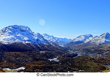 Upper Engadin Valley - View of the Upper Engadin Valley from...