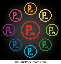 Parking sig icon set. Vector colorfull design elemens