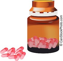 pink capsule pills with container - pink capsule pills with...