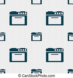 kitchen stove icon sign Seamless pattern with geometric...