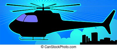 Helicopter	 - Illustration of a white helicopter