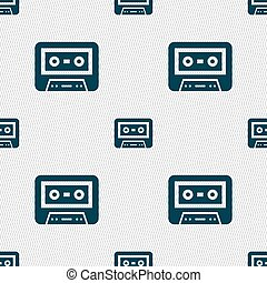 audiocassette icon sign Seamless pattern with geometric...