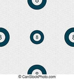 Eightball, Billiards icon sign. Seamless pattern with...
