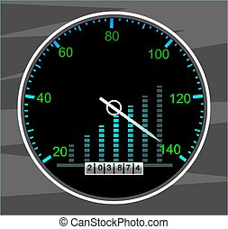 Tachometer - Illustration of a tachometer with white needle...
