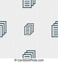 Copy file, Duplicate document icon sign Seamless pattern...