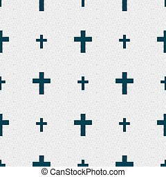 religious cross, Christian icon sign. Seamless pattern with...