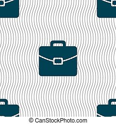 suitcase icon sign Seamless pattern with geometric texture...