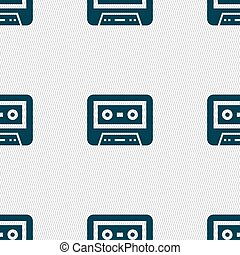 audiocassette icon sign. Seamless pattern with geometric...