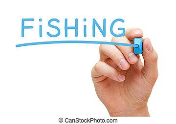 blu, pennarello, pesca