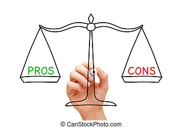 Pros Cons Balance Scale Concept - Hand drawing Pros and Cons...