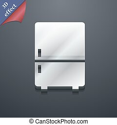 Refrigerator icon symbol 3D style Trendy, modern design with...