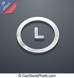 clock icon symbol. 3D style. Trendy, modern design with space for your text Vector