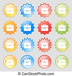 suitcase icon sign Big set of 16 colorful modern buttons for...