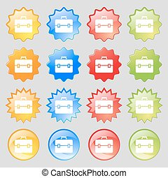 suitcase icon sign. Big set of 16 colorful modern buttons for your design. Vector