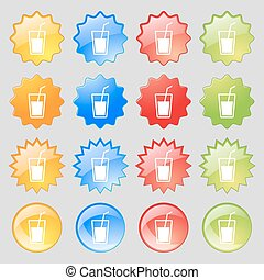 Soft drink icon sign Big set of 16 colorful modern buttons...