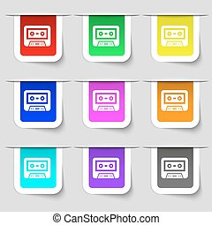 audiocassette icon sign Set of multicolored modern labels...