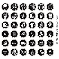 Health and Safety and hazard Icon - Black and white...