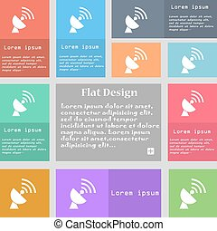 Satellite antenna icon sign. Set of multicolored buttons with space for text. Vector