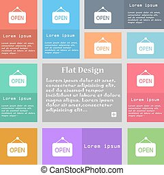 open icon sign. Set of multicolored buttons with space for text. Vector