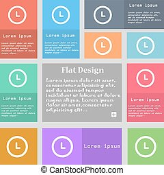 clock icon sign. Set of multicolored buttons with space for text. Vector
