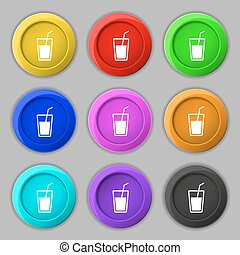 Soft drink icon sign symbol on nine round colourful buttons...