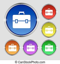 suitcase icon sign Round symbol on bright colourful buttons...