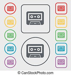 audiocassette icon sign symbol on the Round and square...