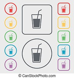Soft drink icon sign symbol on the Round and square buttons...