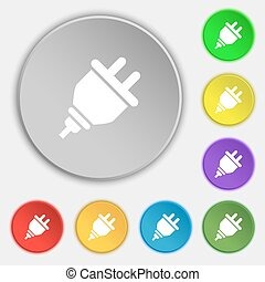 plug icon sign. Symbol on eight flat buttons. Vector