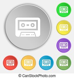 audiocassette icon sign Symbol on eight flat buttons Vector...