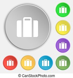 suitcase icon sign Symbol on eight flat buttons Vector...