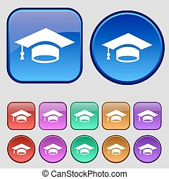 Graduation icon sign. A set of twelve vintage buttons for your design. Vector