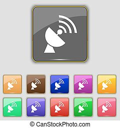 Satellite antenna icon sign. Set with eleven colored buttons for your site. Vector