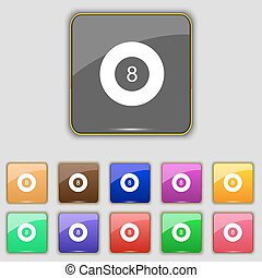 Eightball, Billiards icon sign. Set with eleven colored...