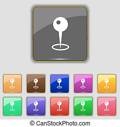 Map pointer icon sign. Set with eleven colored buttons for your site. Vector
