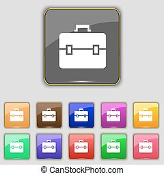 suitcase icon sign Set with eleven colored buttons for your...