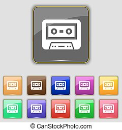 audiocassette icon sign Set with eleven colored buttons for...