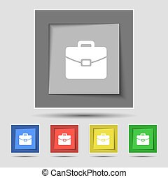 suitcase icon sign on original five colored buttons Vector...