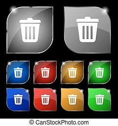 Bin  icon sign. Set of ten colorful buttons with glare. Vector
