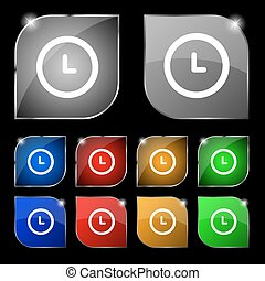 clock icon sign Set of ten colorful buttons with glare...