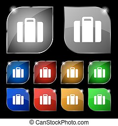 suitcase icon sign. Set of ten colorful buttons with glare. Vector