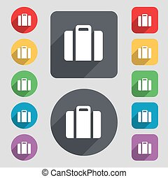 suitcase icon sign A set of 12 colored buttons and a long...