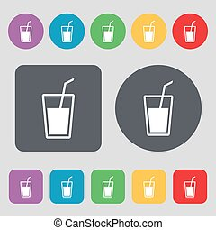 Soft drink icon sign A set of 12 colored buttons Flat design...