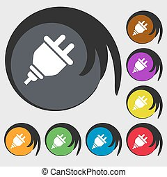 plug icon. Symbols on eight colored buttons. Vector