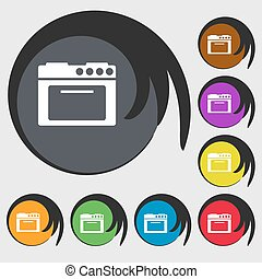 kitchen stove icon Symbols on eight colored buttons Vector...
