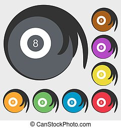 Eightball, Billiards icon. Symbols on eight colored buttons....