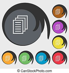 Copy file, Duplicate document icon Symbols on eight colored...