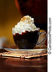 Hot Chocolate - Hot chocolate with whipping cream in cafe